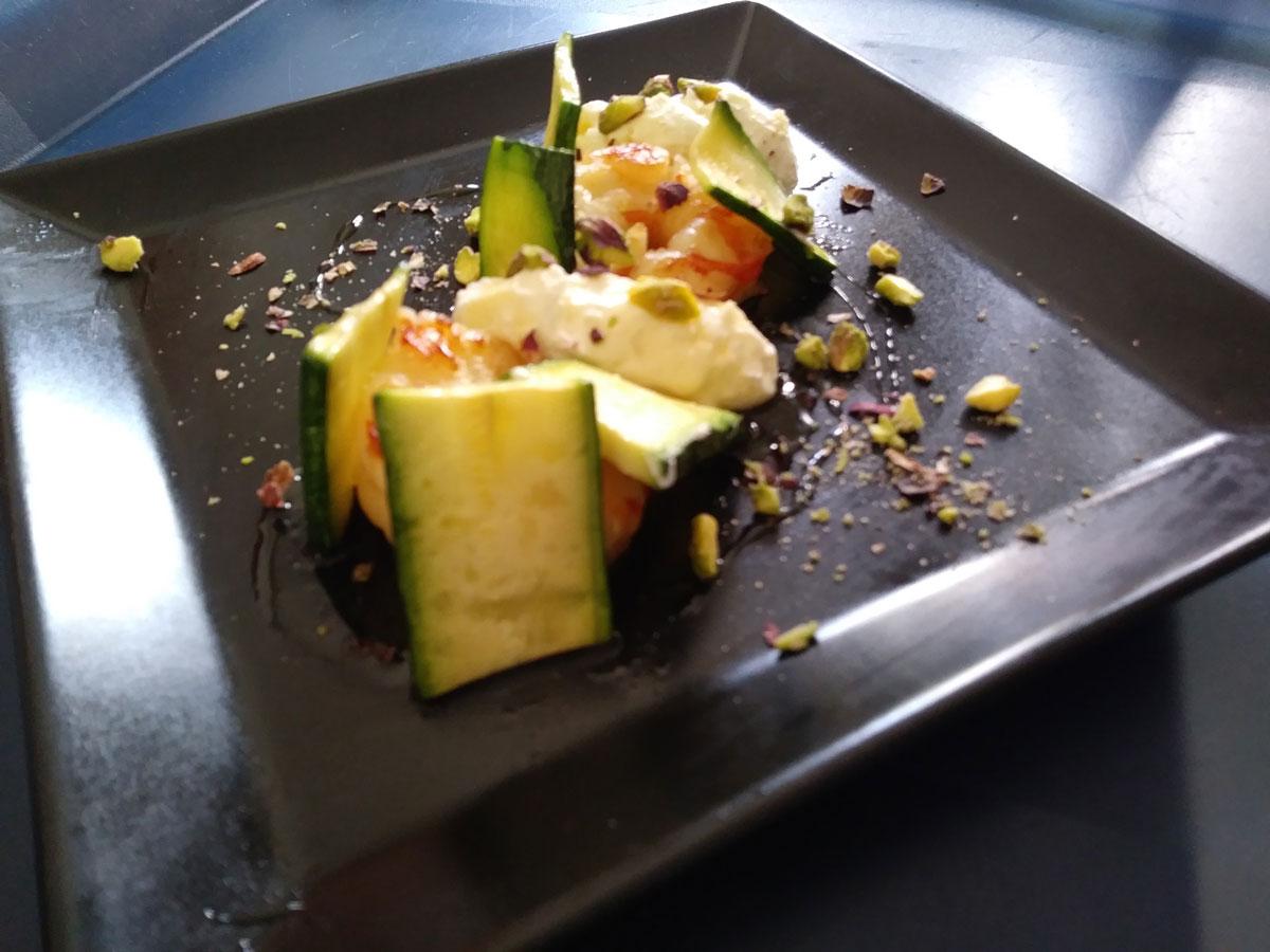 Zucchine formaggio e gamberi